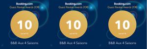Aux 4 Saisons D,B&B heeft een Guest Review Award gewonnen voor 2018